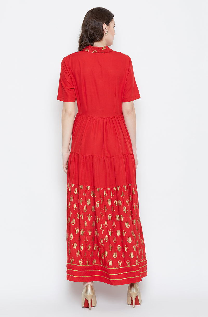 Red Overlap Collar Motif Print Gown