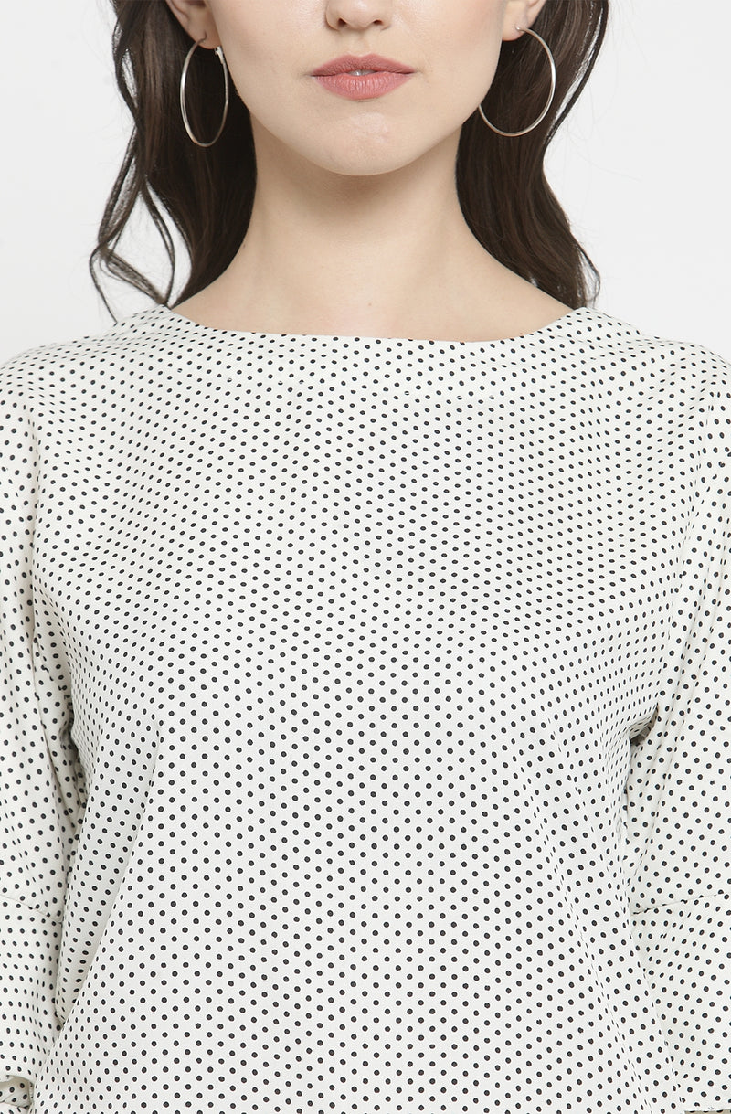 Micro Dot Top with Ruffled Sleeves
