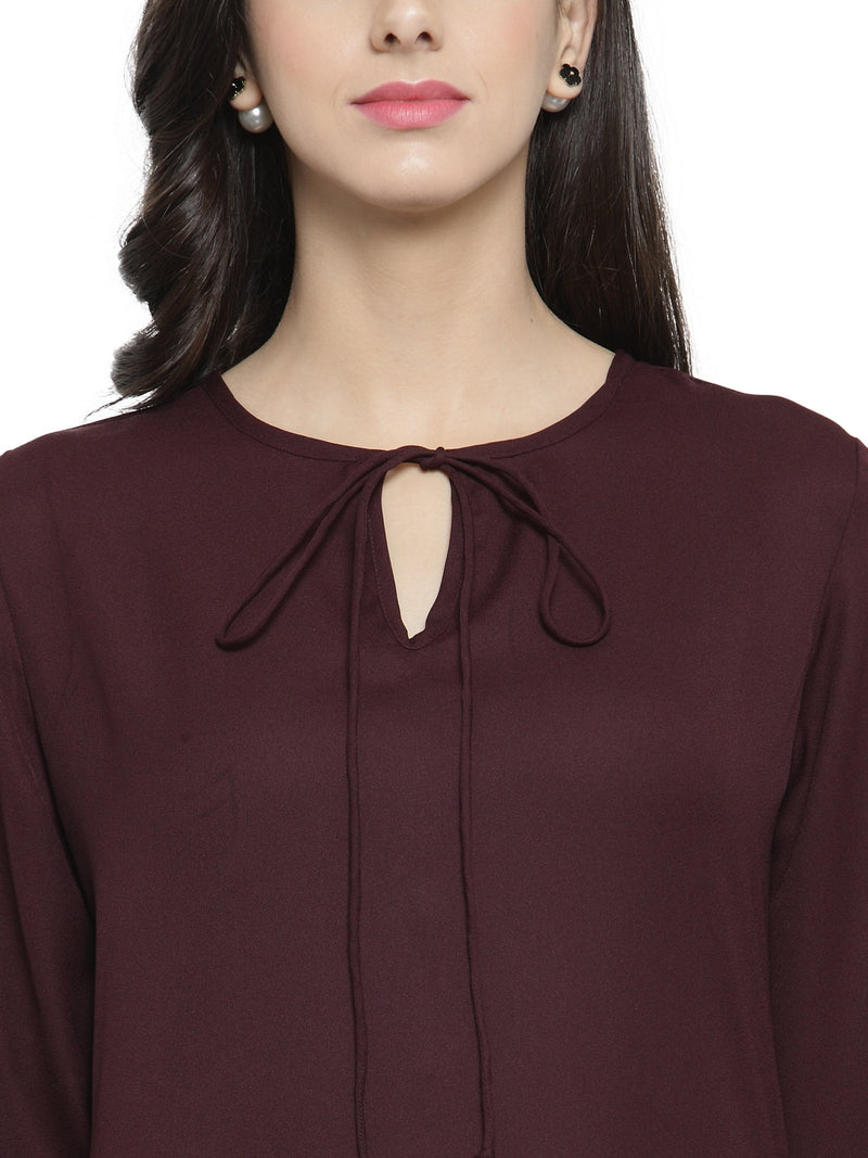 Burgundy Floral Sheer Top