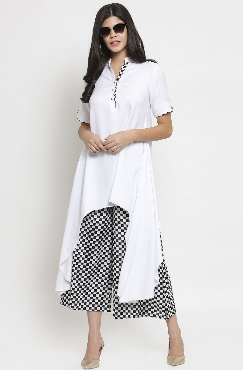 White Tunic with Culottes Set by Afamado