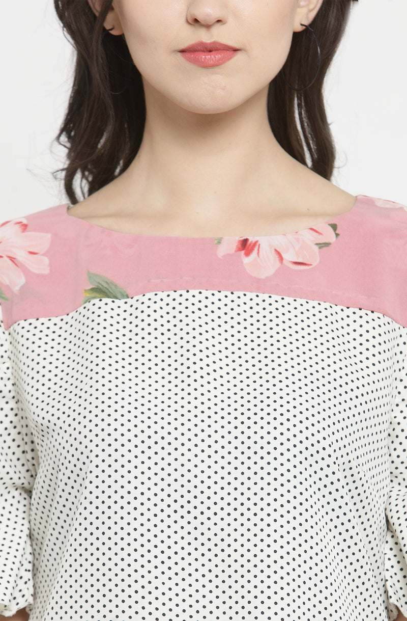 Microdot Top with Contrast Floral Yoke
