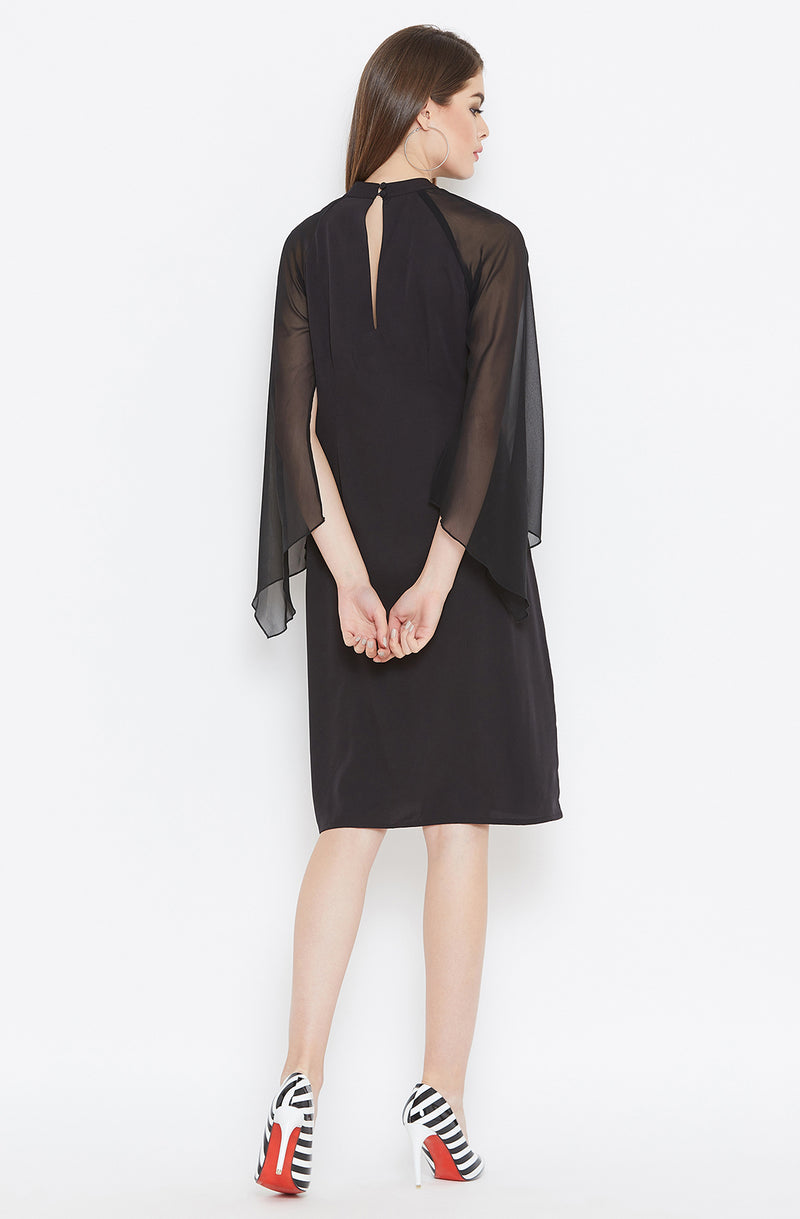 Sheer Cape Sleeves Black Dress
