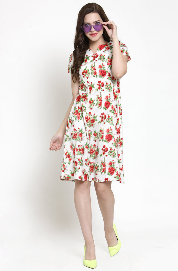 Floral Printed Fit and Flare Dress by Afamado