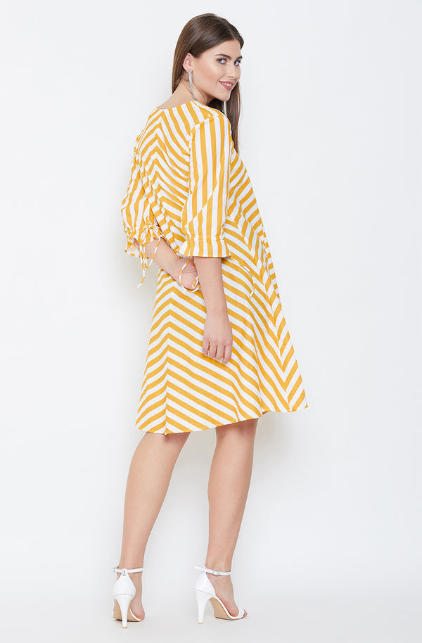 Yellow & White Stripes Nautical Dress