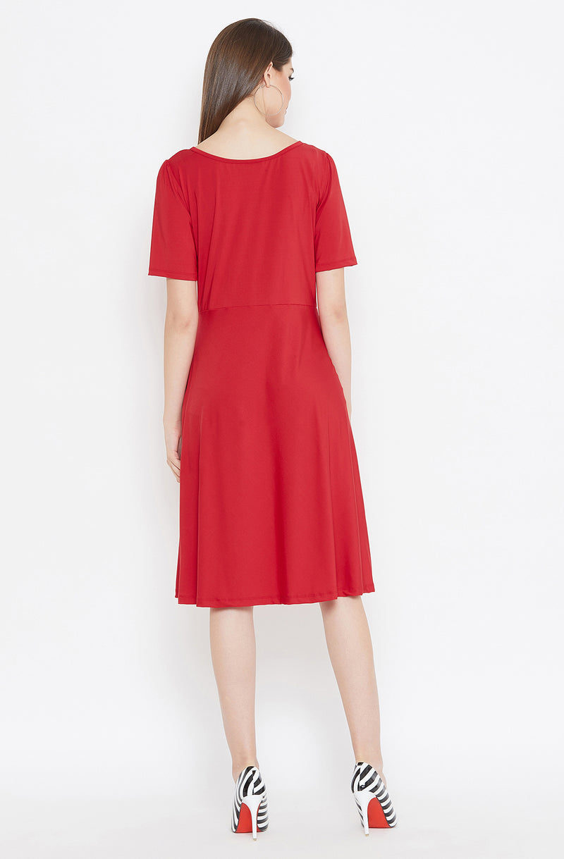 Cut-Out Neckline Red Dress