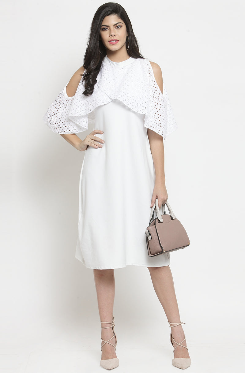 Formal Cold Shoulder White Dress