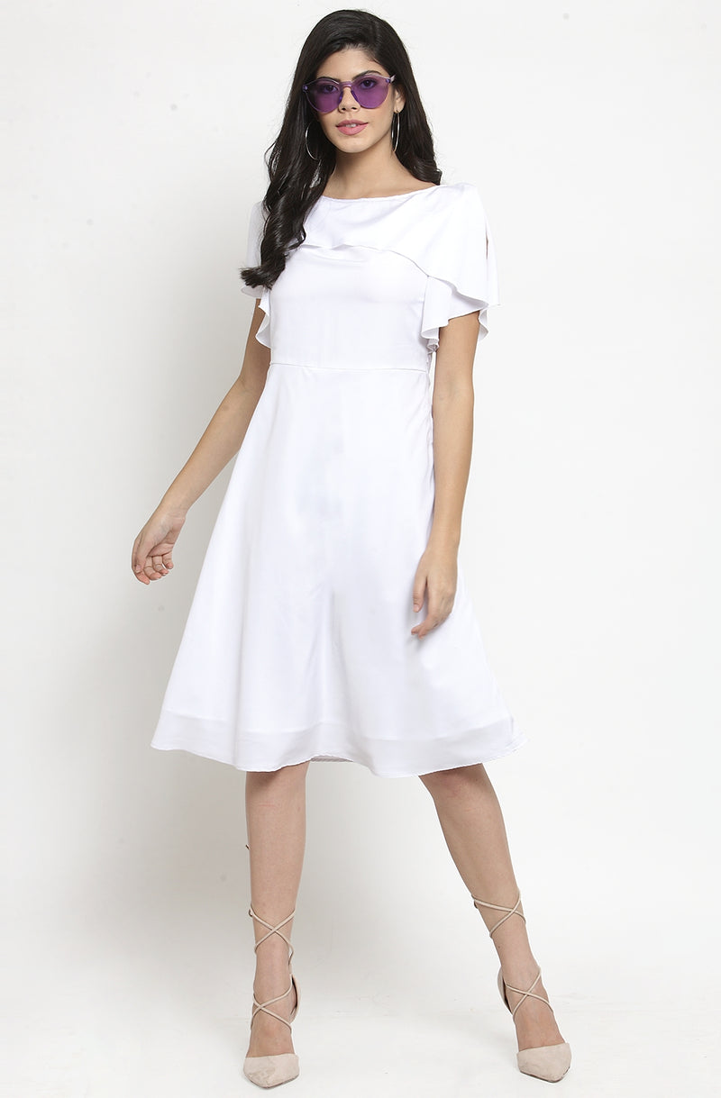 White Ruffle Layered A-Line Party Dress