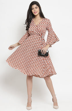 Geometric Print V-Neck Dress by Afamado