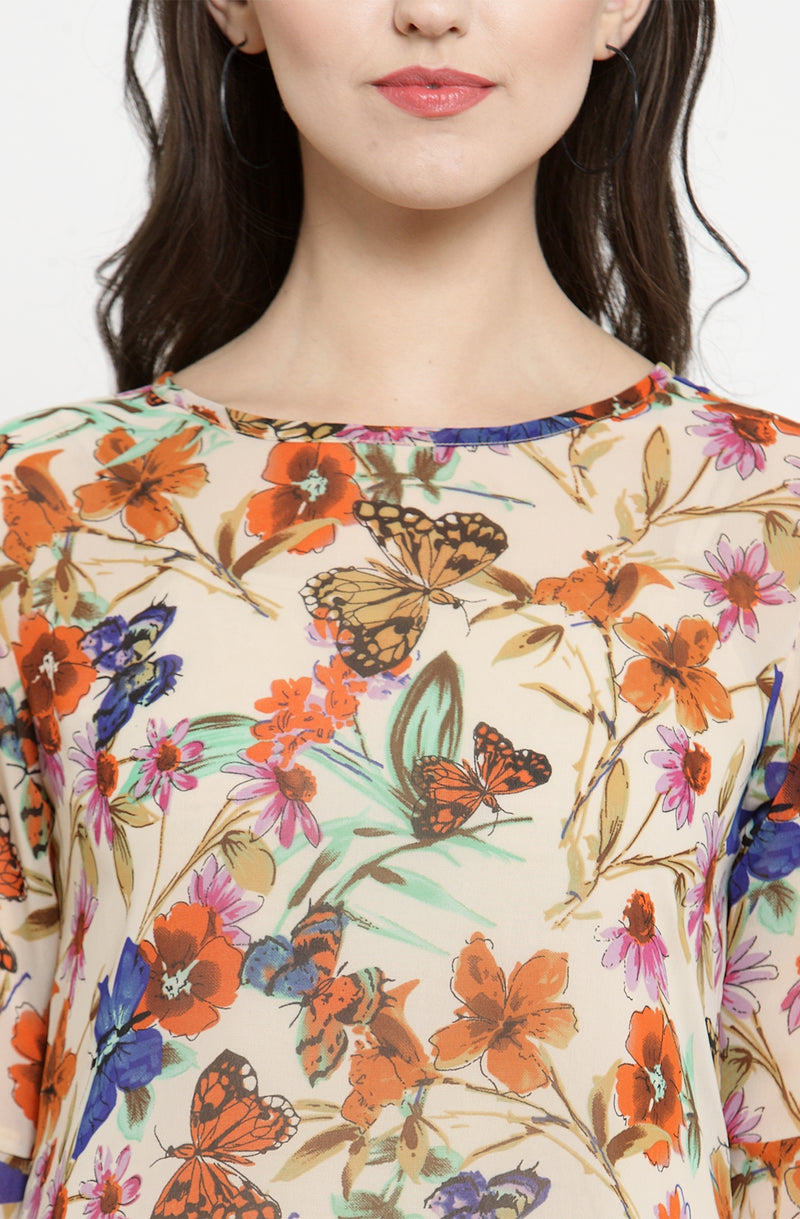 Sheer Butterfly Print Tunic