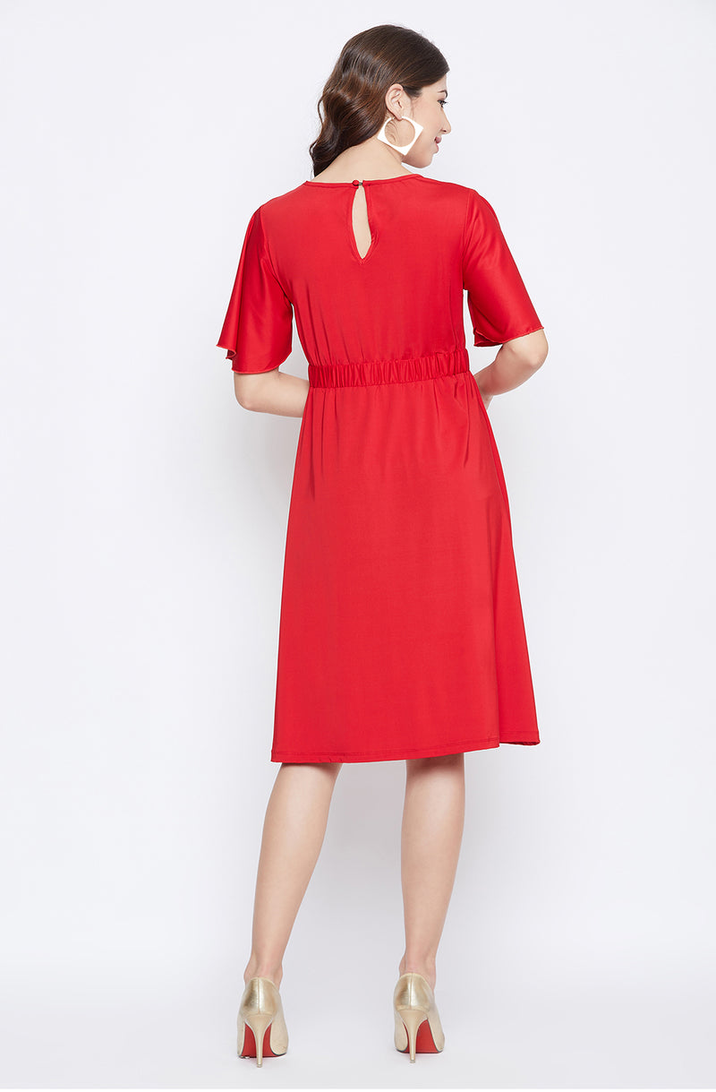 Red Party Dress With Relaxed Sleeve