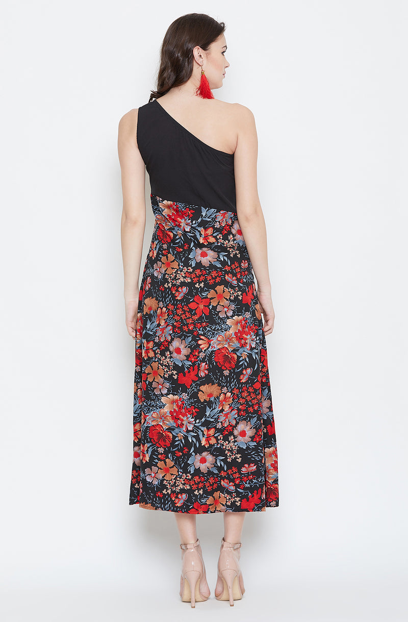 One Shoulder Black & Printed Maxi Dress
