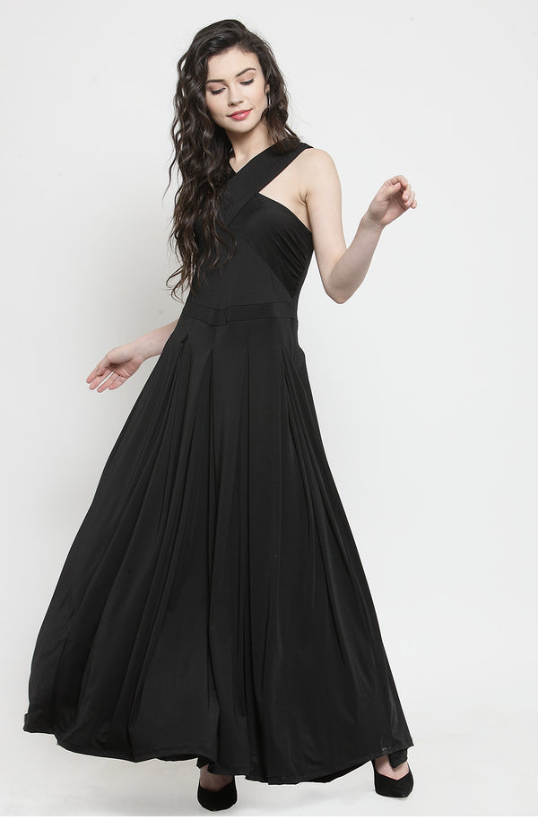 Cross Black Maxi Dress  by Afamado