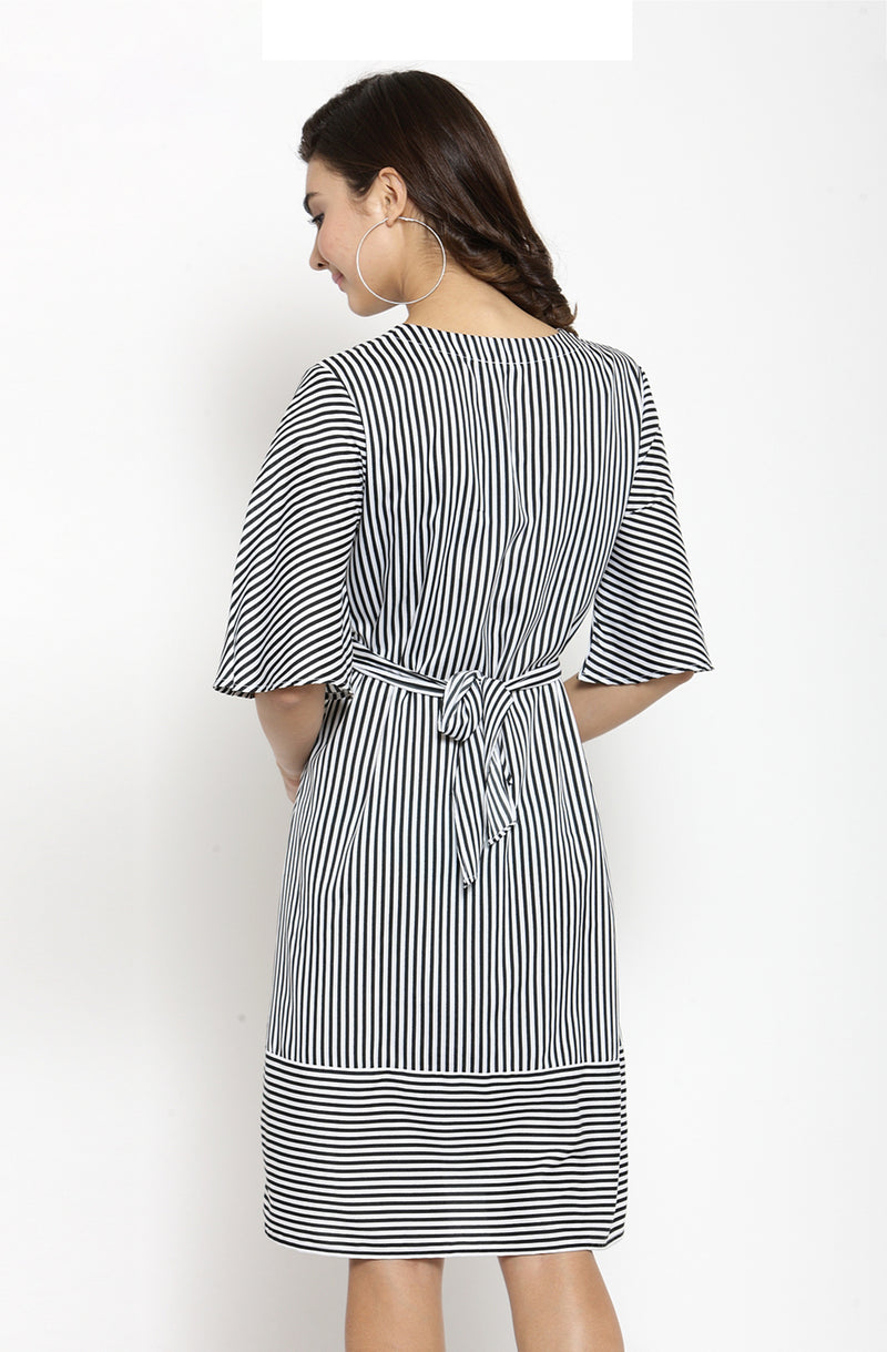 A-Line Striped V-Neck Dress
