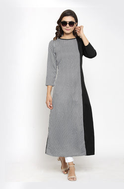Boat Neck A-line Kurti by Afamado