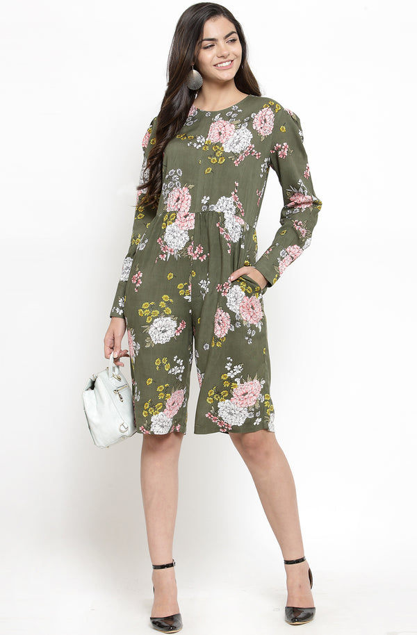Floral Print Knee-Length Cotton Jumpsuit by Afamado
