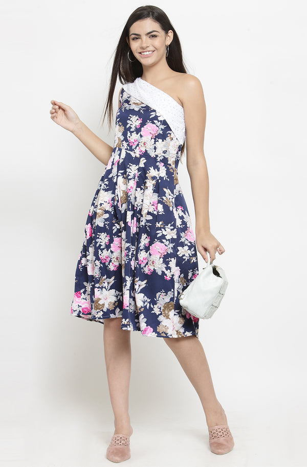 One Off-Shoulder Floral Dress by Afamado