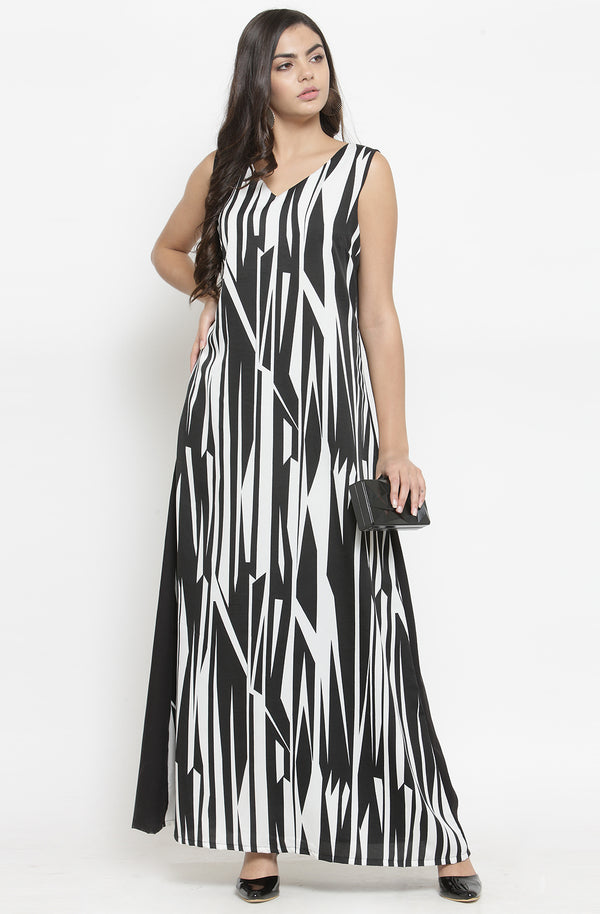 Monochrome Formal Maxi Dress by Afamado