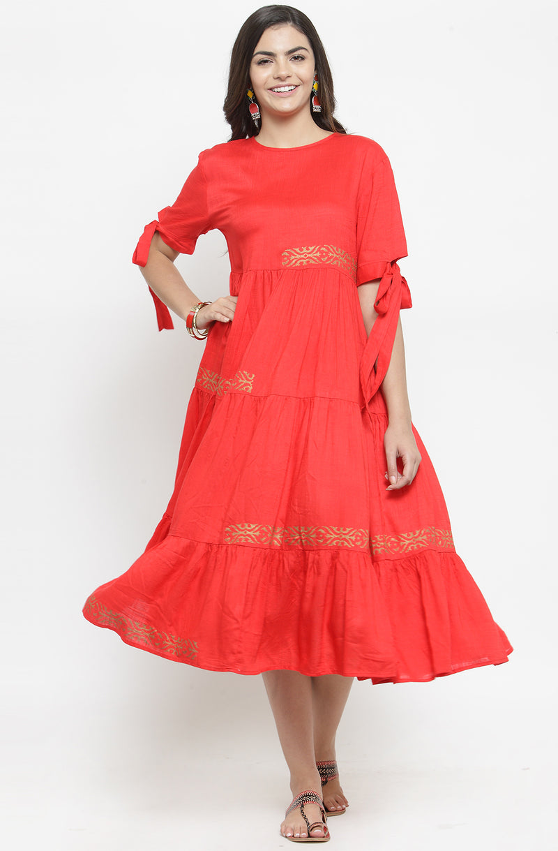 Red Midi Dress with Contrast Motifs