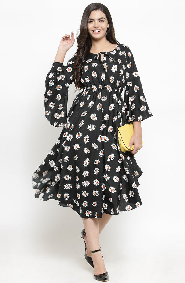 Floral Print Drawstring Dress by Afamado