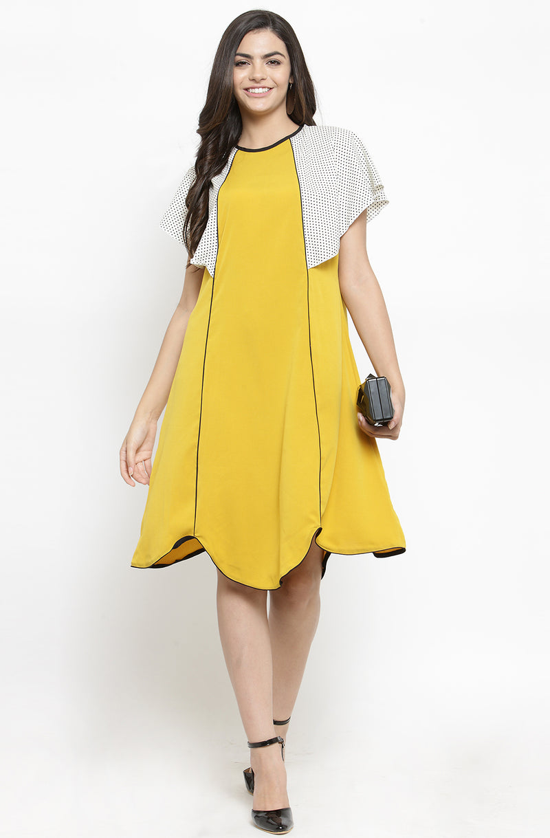 Yellow A-Line Shift Dress by Afamado