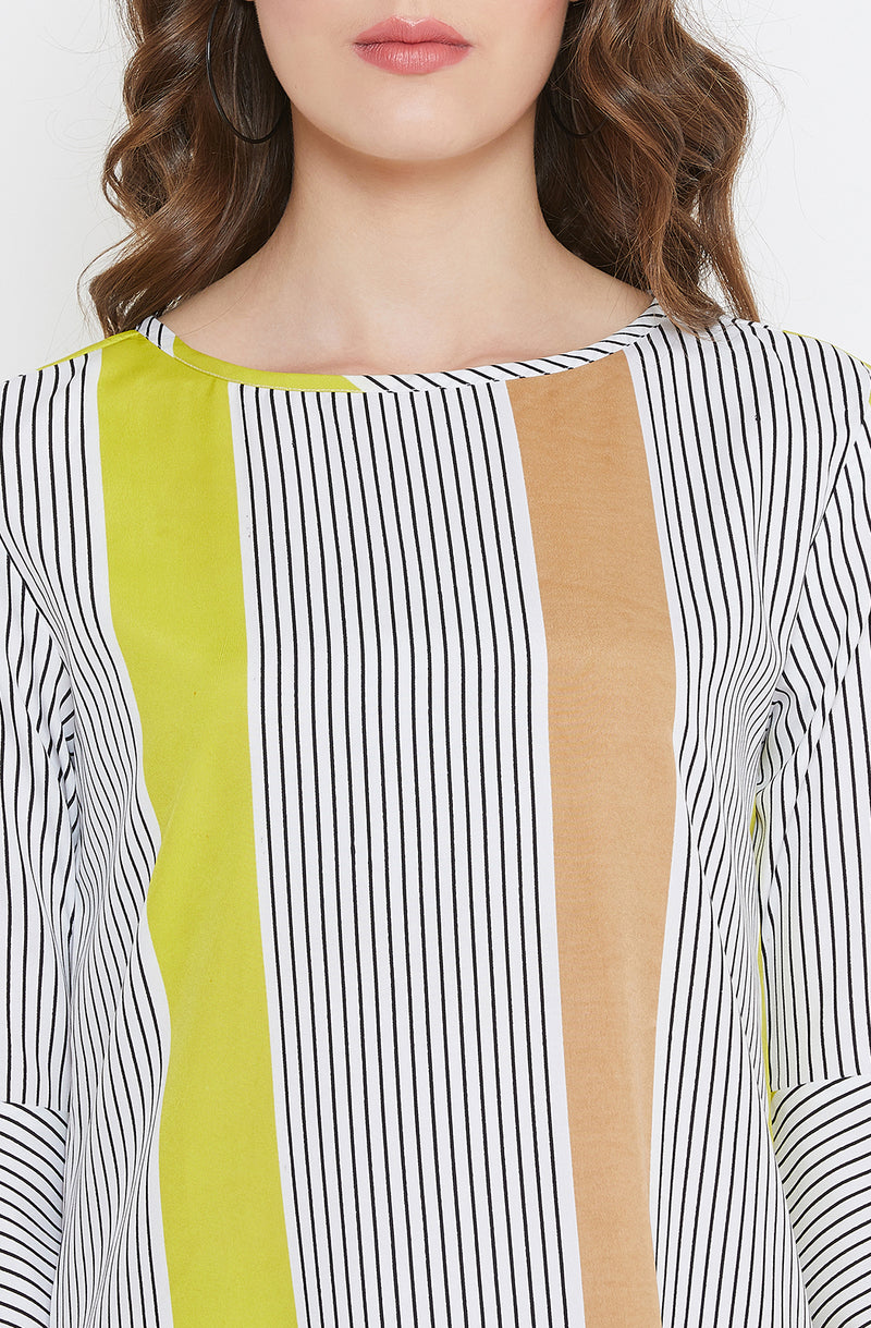 Asymmetric Casual Multi Striped Dress