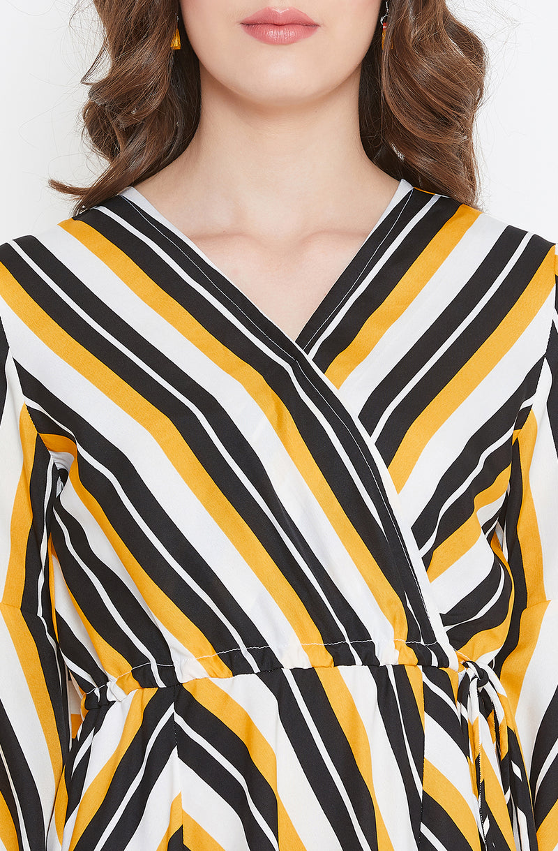 Striped Maxi Dress with Flared Sleeves