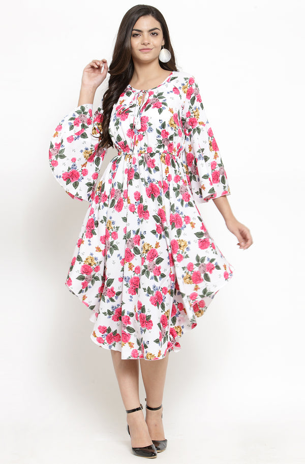 Multi-Color Asymmetric Floral Dress