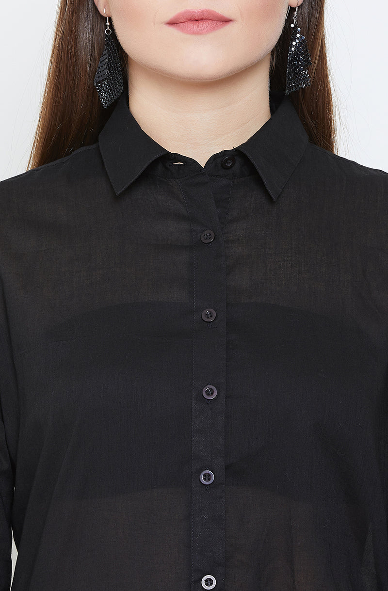 Black Button -Up High Low Top