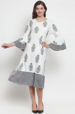 Soft Cotton Hand Printed Dress by Afamado