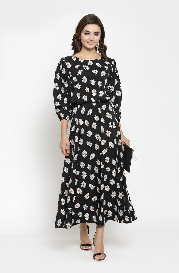 Boat Neck Maxi Dress with Bishop Sleeves by Afamado