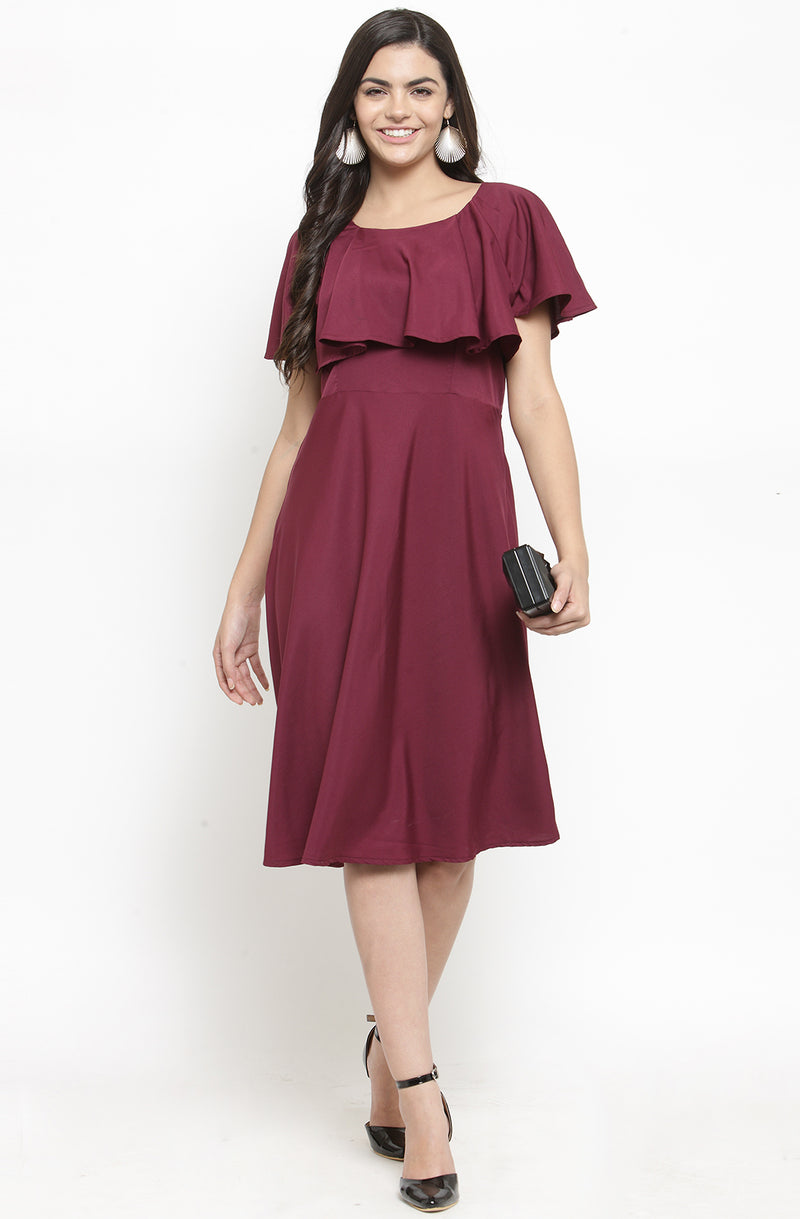 Ruffled Neckline Solid Dress by Afamado