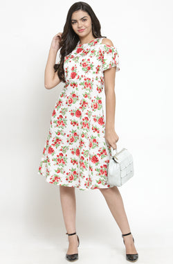 White Cold-Shoulder Floral Dress by Afamado
