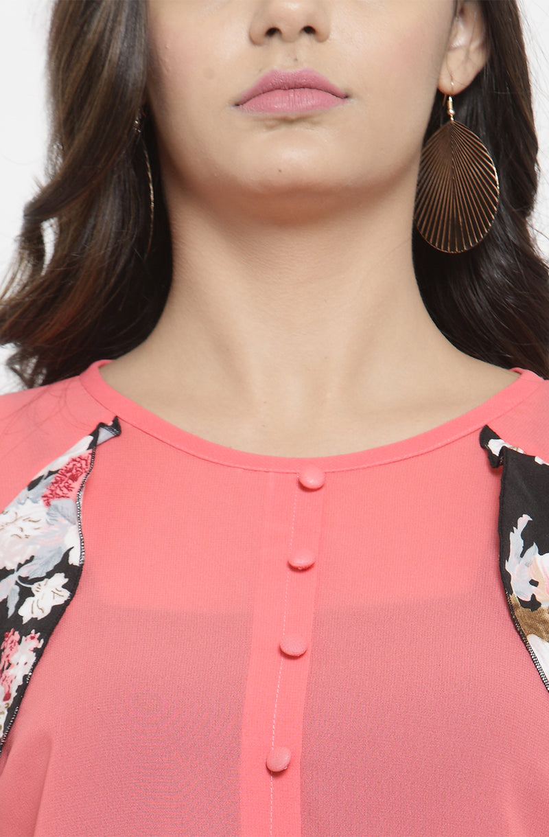 Pink Sheer Top with Contrast Ruffles