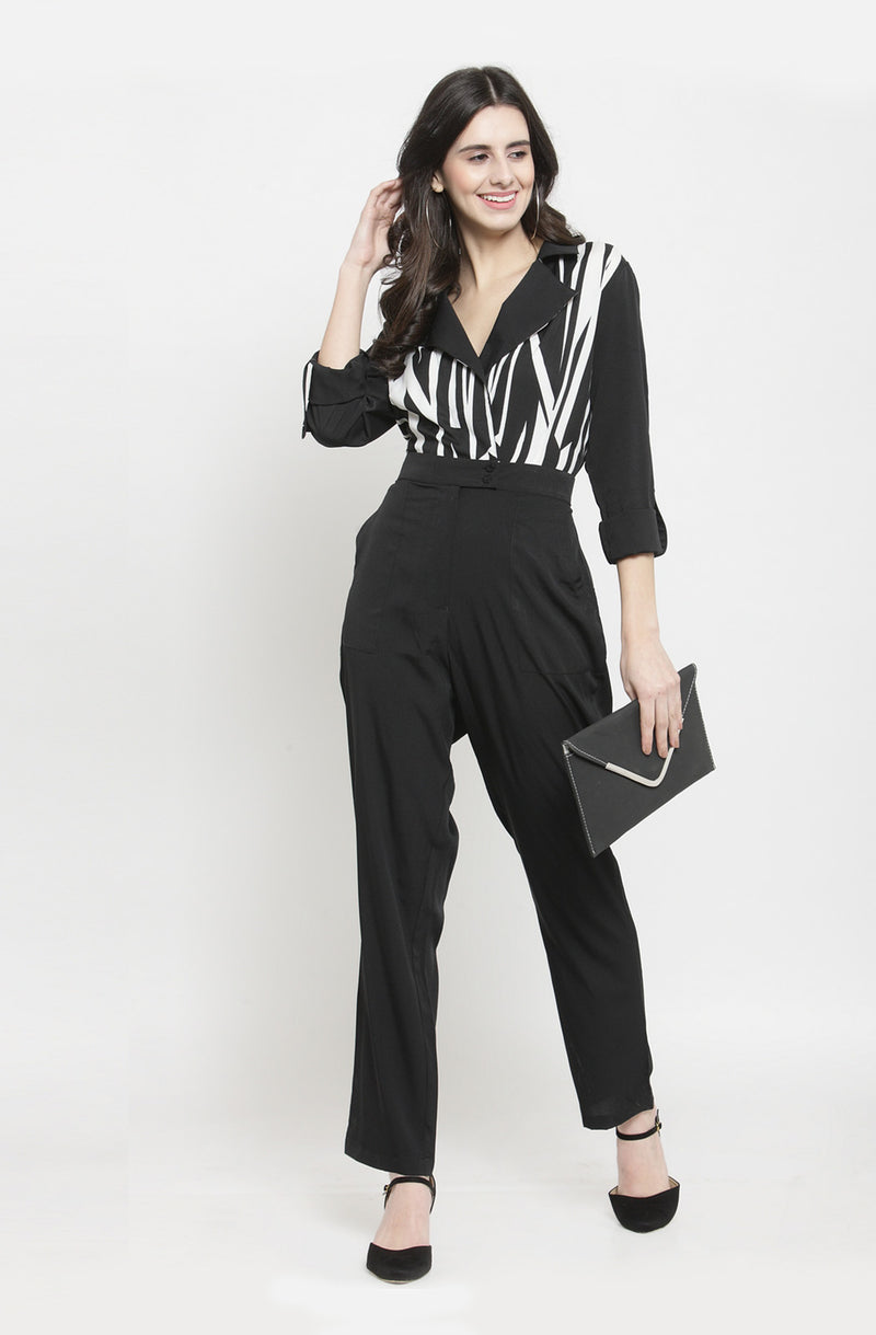 Monochrome Formal Double Collar Jumpsuit by Afamado