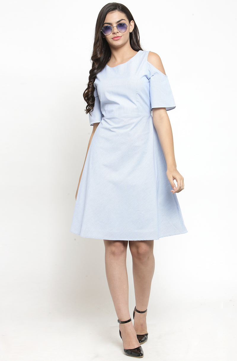Cold-Shoulder Cotton Fit and Flare Stripe Dress by Afamado