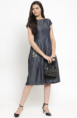 Cotton Chambray Dress With Pocket Detail by Afamado