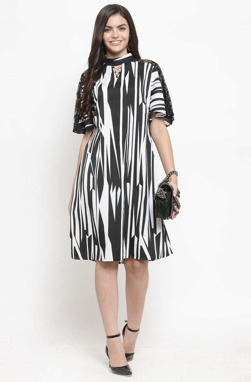 Monochrome A-Line Party Dress by Afamado