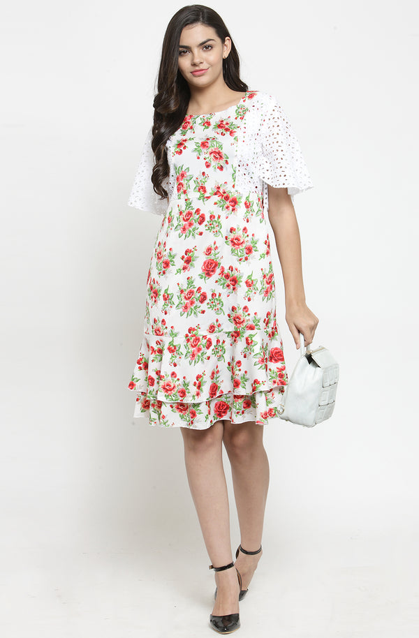 Ruffled Sleeve Floral Dress by Afamado