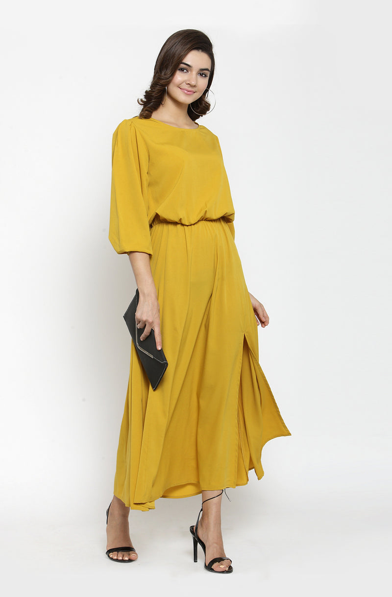 Boat Neck Mustard Color Maxi Dress by Afamado