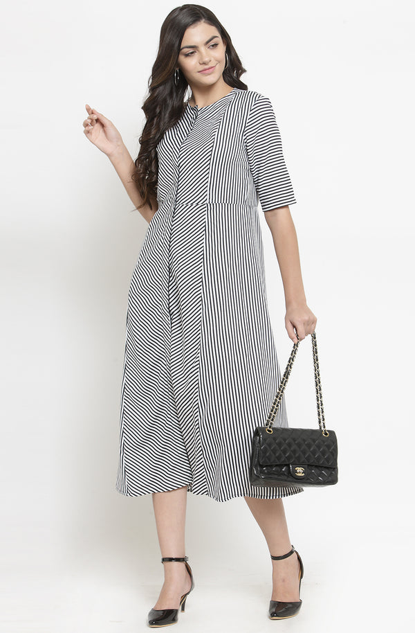 Formal Monochrome A-Line Midi Dress by Afamado