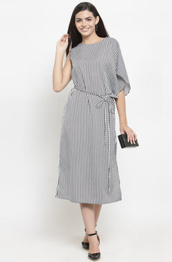 One-Side Cape Sleeve Striped Midi Dress
