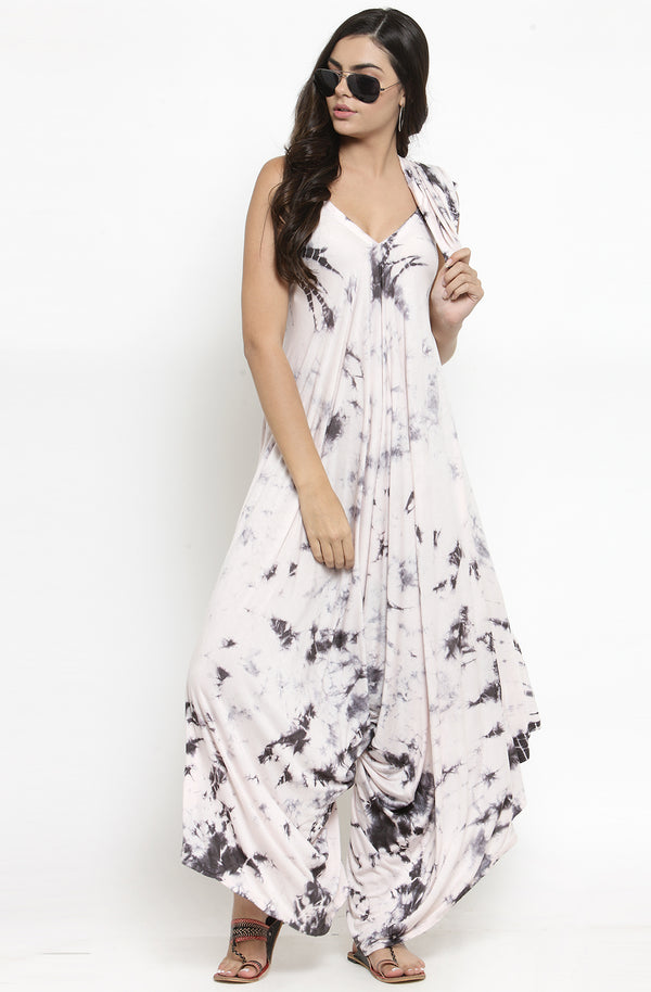 Black and White Tie & Dye Dhoti Dress with Shrug