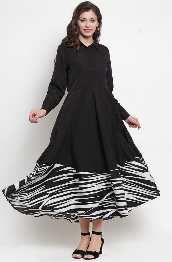 Black & Zebra Printed A-line Maxi Dress by Afamado