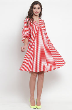 Scarlet Striped A-Line dress by Afamado