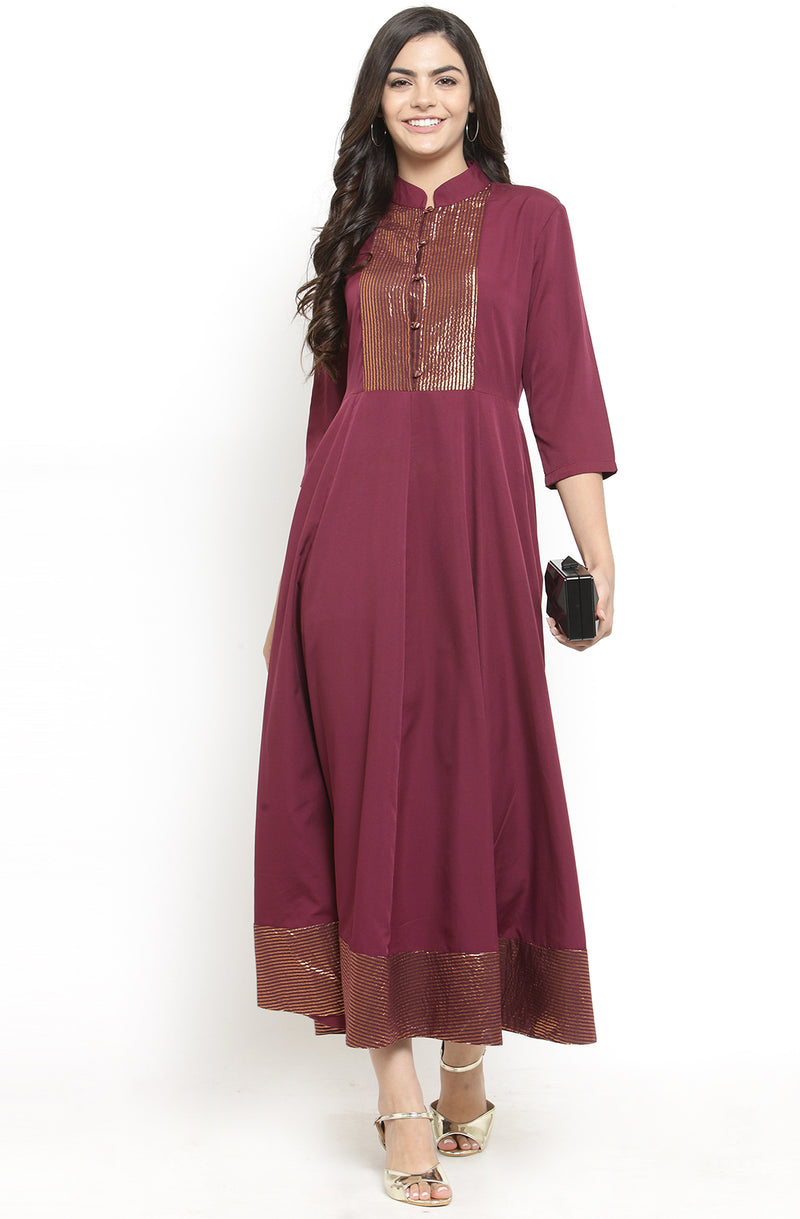 Burgundy Collared Anarkali Dress
