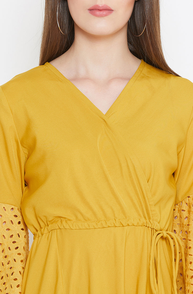 Solid  Mustard Faded  chifley Maxi Dress