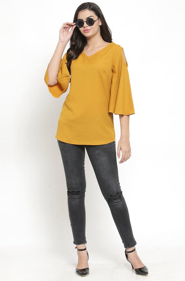 Flare Sleeve Cold-Shoulder Top by Afamado