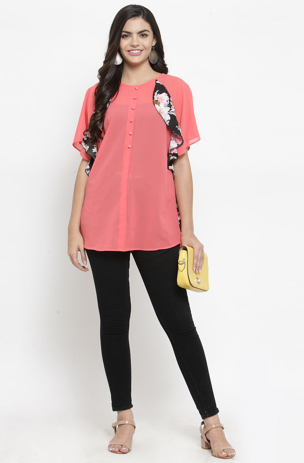 Pink Sheer Top with Contrast Ruffles by Afamado