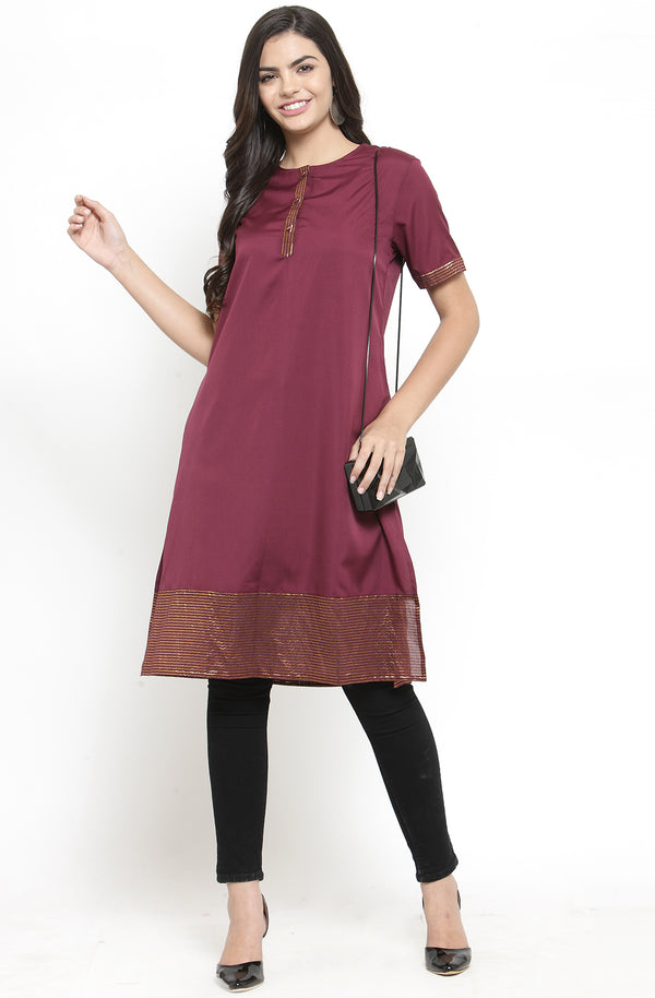 Burgundy Short-Sleeved Tunic by Afamado
