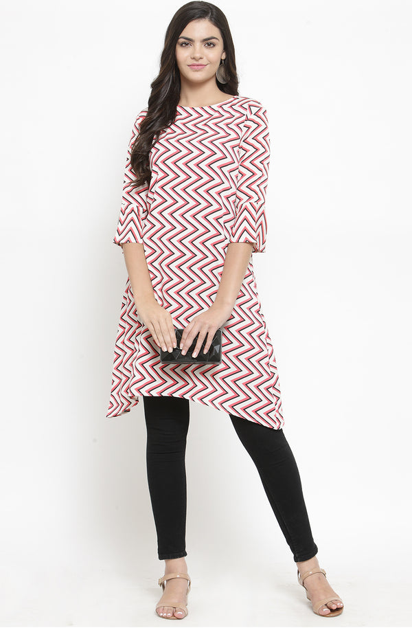 Chevron Print Asymmetrical Tunic by Afamado